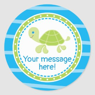 Cute Sea Turtle Under the Sea Birthday Classic Round Sticker