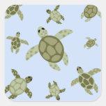 Cute Sea Turtles Square Stickers