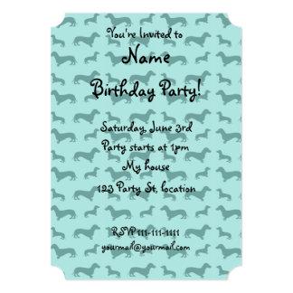 Cute seafoam green dachshunds 5x7 paper invitation card