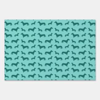 Cute seafoam green dachshunds lawn signs