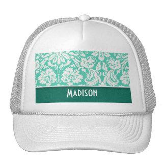 Cute Seafoam Green Damask Trucker Hat