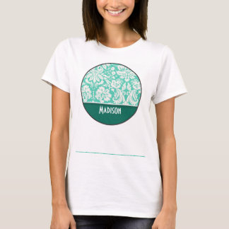 Cute Seafoam Green Damask T-Shirt