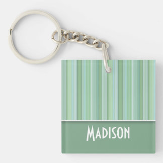 Cute Seafoam, Sage Green, & Baby Blue Striped Double-Sided Square Acrylic Keychain