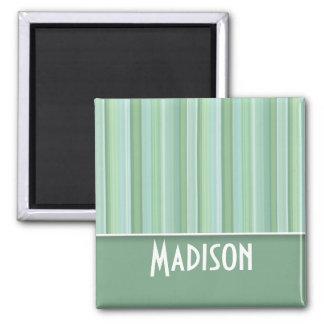 Cute Seafoam, Sage Green, & Baby Blue Striped Magnets