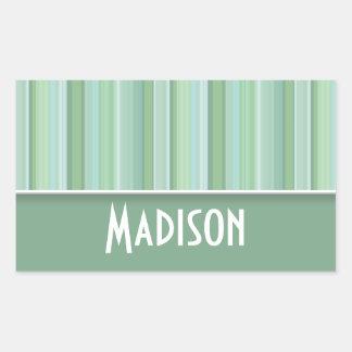 Cute Seafoam, Sage Green, & Baby Blue Striped Rectangular Sticker