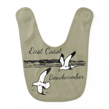 Beach Themed Cute Seagull Beach East Coast Beachcomber baby bib