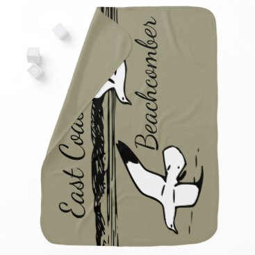 Beach Themed Cute Seagull Beach East Coast Beachcomber baby Receiving Blanket
