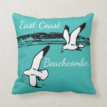 Beach Themed Cute Seagull Beach East Coast Beachcomber pillow