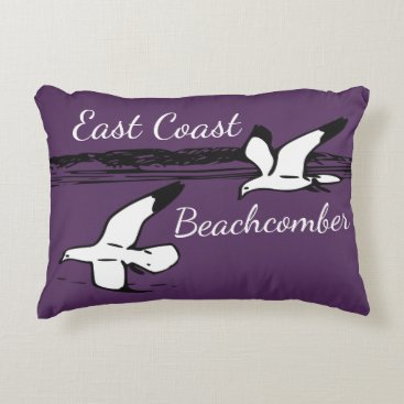 Beach Themed Cute Seagull Beach East Coast Beachcomber pillow