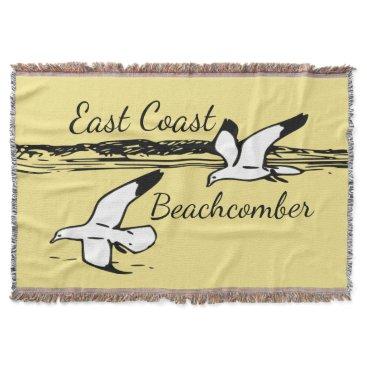 Beach Themed Cute Seagull Beach East Coast Beachcomber throw