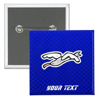 Cute Seagull; Blue Pinback Button