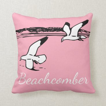 Beach Themed Cute Seagull Coastal Beach Beachcomber pillow pink