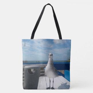 Cute Seagull Print Tote Bag