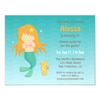 Cute Seahorse and Mermaid Girls Birthday Party Card
