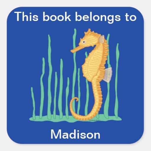 Cute Seahorse Bookplate Sticker