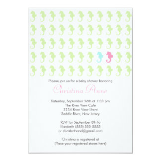 Cute Seahorse Girl Boy Multiple Baby Shower 5x7 Paper Invitation Card