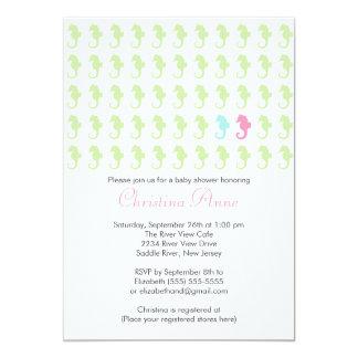 Cute Seahorse Girl Boy Multiple Baby Shower Invites