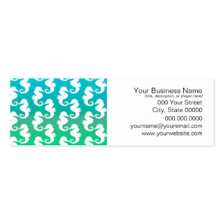 Cute Seahorse Pattern on Blue Green Double-Sided Mini Business Cards (Pack Of 20)