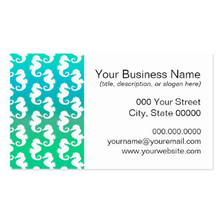 Cute Seahorse Pattern on Blue Green Double-Sided Standard Business Cards (Pack Of 100)