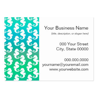 Cute Seahorse Pattern on Blue Green Large Business Cards (Pack Of 100)