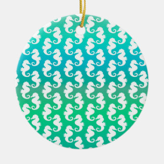 Cute Seahorse Pattern on Blue Green Ornament