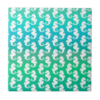 Cute Seahorse Pattern on Blue Green Tile