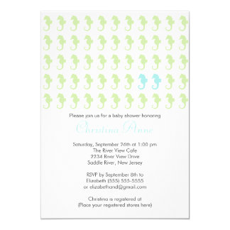 Cute Seahorse Twin Boys Multiple Baby Shower 5x7 Paper Invitation Card