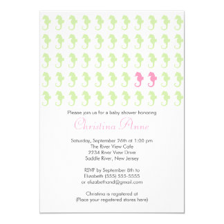 Cute Seahorse Twin Girl Multiple Baby Shower 5x7 Paper Invitation Card