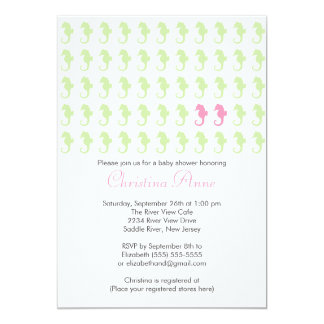 Cute Seahorse Twin Girl Multiple Baby Shower Personalized Invite