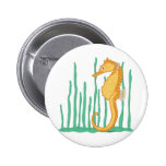 Cute Seahorse Yellow-Orange and Tan Pinback Buttons