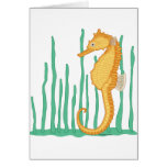 Cute Seahorse Yellow-Orange and Tan Cards
