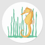 Cute Seahorse Yellow-Orange and Tan Stickers