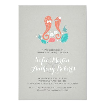 Beach Themed cute seahorses beach engagement party invitation
