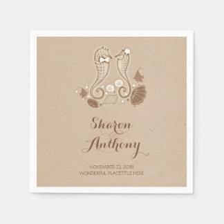 Cute Seahorses Beach Wedding Paper Napkins Paper Napkin