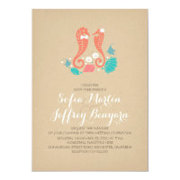 Cute seahorses casual beach wedding invitation