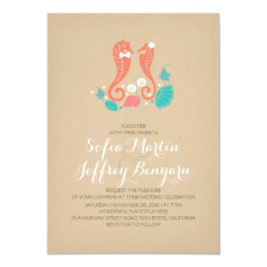 Cute seahorses casual beach wedding invitation announcement