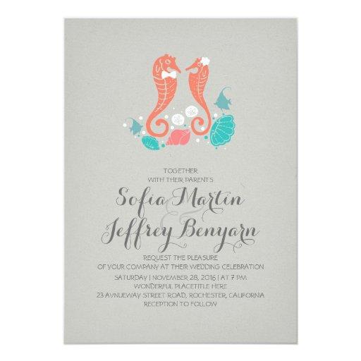 Casual Wedding Invitations: Cute Seahorses Casual Beach Wedding Invitation