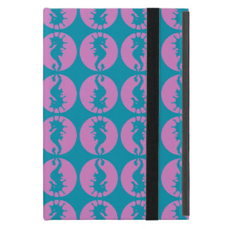 Cute Seahorses in Pink and Teal iPad Mini Cover