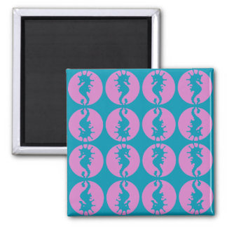 Cute Seahorses in Pink and Teal Magnet