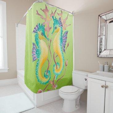 Beach Themed Cute Seahorses Lime Shower Curtain