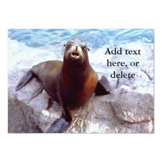 Cute Seal on a Rock 5x7 Paper Invitation Card