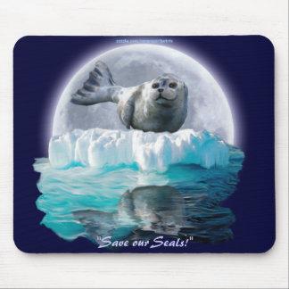 Cute Seal-Pup & Moon Wildlife Lover Mousepad