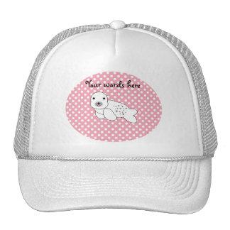 Cute seal pup pink and white polka dots mesh hats