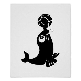 cute seal with ball design poster