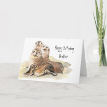 Cute Seals Brother Birthday Watercolor Animals Card