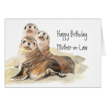 Cute Seals Mother-in- Birthday  Watercolor Animals Card