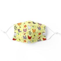 cute seamless chicken pattern cartoon cloth face mask