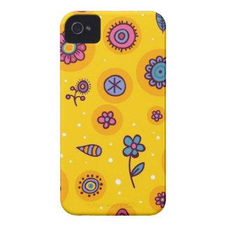 cute-seamless-pattern colourful cartoon flowers iPhone 4 case