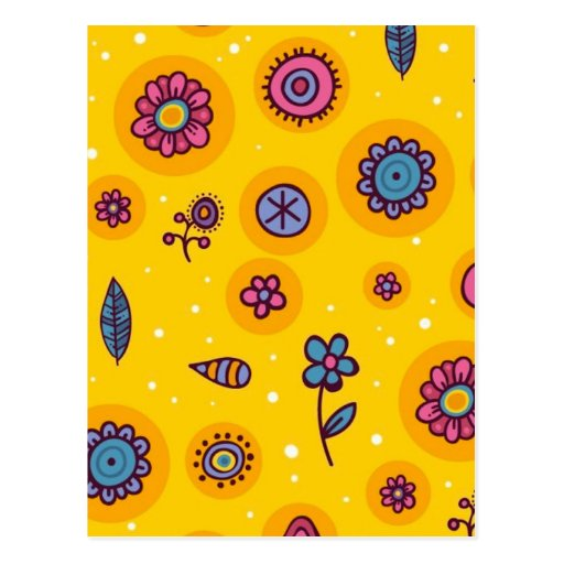 cute-seamless-pattern colourful cartoon flowers post cards