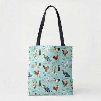 Cute seamless roosters pattern cartoon tote bag